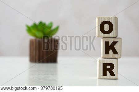 Okr (objectives And Key Results) - Acronym On Wooden Cubes On A Light Background With A Cactus. Busi