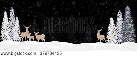 Panorama Winter Landscape With Snow Falling, Reindeers Family Walking In Forest Pine Tree, Christmas