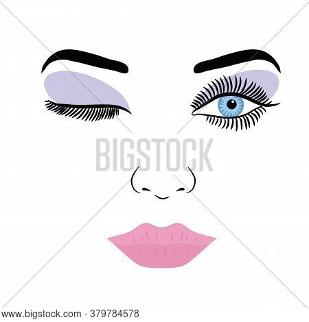 Female Face With Make-up Eyelashes, Eyes And Lips On A White Background. Vector Illustration
