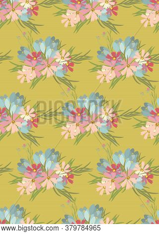 Floral Cosmos Flowers And Crocus Retro Vintage Background, Vector Illustration