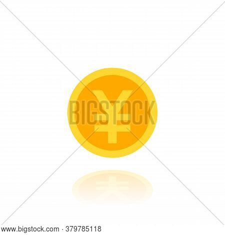 Yen Coin Vector Flat Icon, Eps 10 File, Easy To Edit