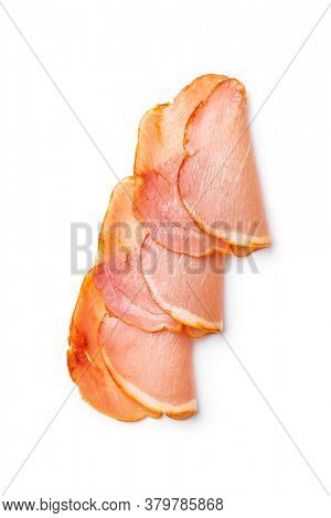 Dried spanish ham. Lomo embuchado isolated on white background.