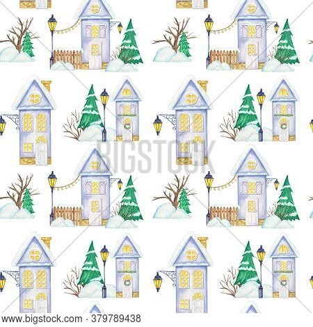 Watercolor Christmas Winter Houses Seamless Pattern. House With Wooden Door, Luminous Windows, Snow