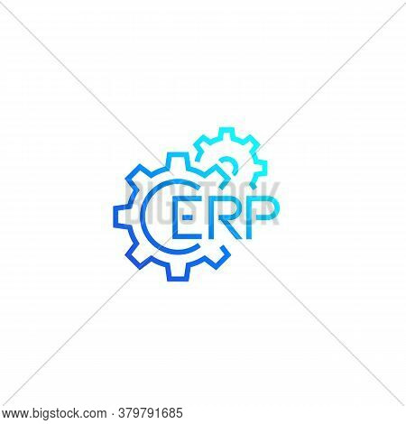 Erp, Enterprise Resource Planning Icon With Gears, Eps 10 File, Easy To Edit