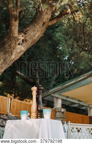 A Beige Salt Shaker And A Brown Pepper Shaker On A Table With Two Glasses Outside Under A Tree.