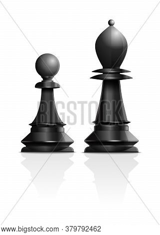 Chess Concept Design. Black Pawn And Black Bishop Isolated On White Background. Chess Piece Elephant