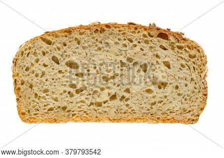 Slice Of Spelt Bread, From Above. Brown Sourdough Bread, A Mix Of Spelt Flour, Leaven, Sunflower See