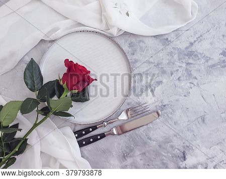 Plate Flower Rose On Concrete Background Tableware