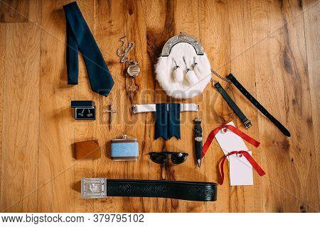 Scotsman Sporrans Accessories, Pocket Watch On A Chain, Tie, Cufflinks, Cross, Belt, Knife, Flask, G
