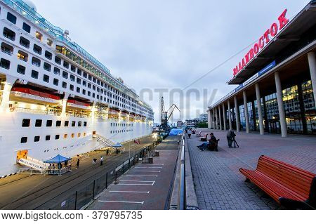 Summer, 2016 - Vladivostok, Russia - A Cruise Liner Stands At The Quay Wall Of The Seaport In Vladiv