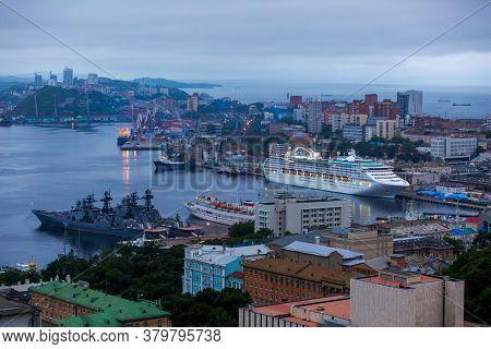Summer, 2016 - Vladivostok, Russia - The Cruise Liner Is Shaded In The Center Of Vladivostok. The Li
