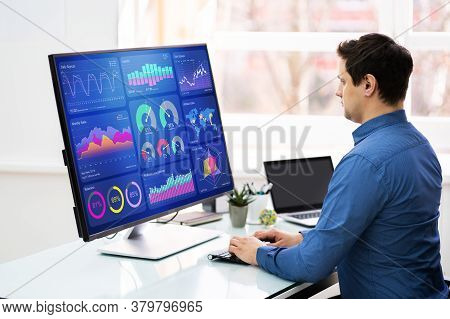 Business Analyst Using Kpi Data Analytics On Monitor