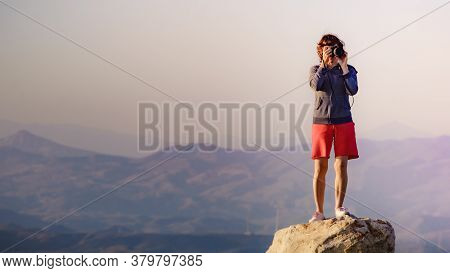 Tourist Woman With Camera Taking Travel Photo From Coastal Spanish Landscape, Mesa Roldan Location I
