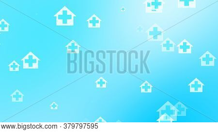 Medical Health Blue Cross On Home Pattern Background. Abstract Banners With Prevent Virus Infection