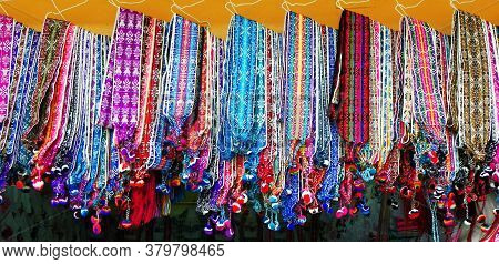 Woven Colorful Fabric Belts In The Artisan's Market In Otavalo, Traditional Patterns & Design, Ecaud