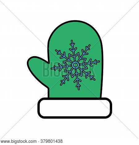 Red Mittens. Snowflakes On Mittens. Vector Illustration. Flat Design For Business Financial Marketin