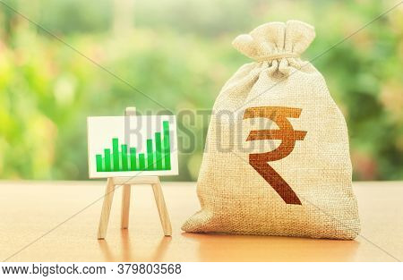 Indian Rupee Money Bag And Easel With Green Positive Growth Graph. Economic Development. Business Se