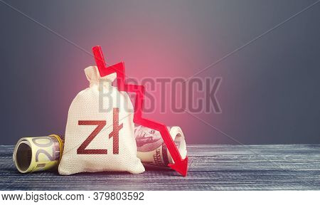 Polish Zloty Money Bag And Red Down Arrow. Economic Difficulties Fall. Stagnation, Recession, Declin