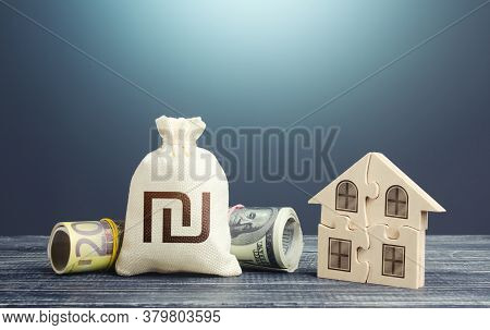 Israeli Shekel Money Bag And Puzzle House. Housing Cooperative Membership. Property Valuation. State