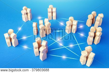 Connections Of Employees Teams In The Company. Coordination, Knowledge Sharing. Equal Distribution O