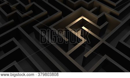 Huge Black Grey Maze. Сhoices And Challenge Theme. Сomplex Way To Find Exit, Business Concept Or Edu