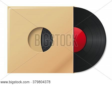 Vinyl Record In Envelope With Space For Your Text. Plate In Vintage Paper Packaging. Vinyl Disc Cove