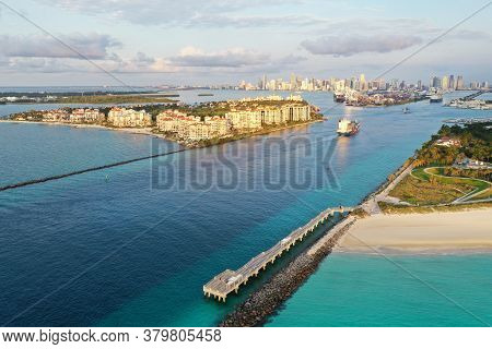 Miami, Florida - April 5, 2020 - Aerial Of Container Ship In Government Cut On Way To Port Miami At