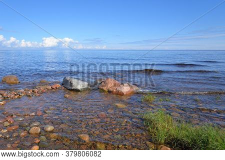 Ladoga Lake At Sunny Day, Karelian Isthmus, Russia.