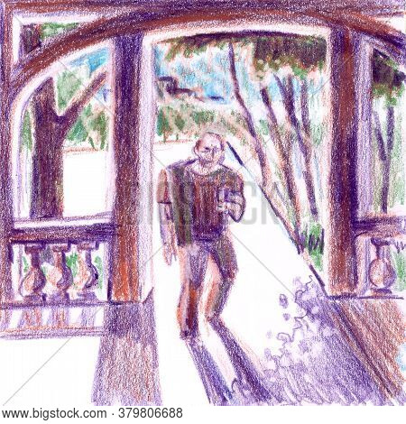 Man With Phone Enters Pergola, Sunlight And Shadows, Drawing With Colored Pencils