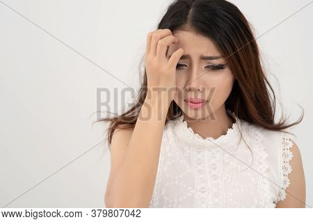 Close Up Asian Business Woman Cry, Business Fail Concept. Thai Woman Crying On White Background; Fre