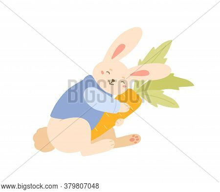 Funny Rabbit Smiling Hugging Carrot Vector Flat Illustration. Cute Bunny In Trendy Jacket Holding Fr