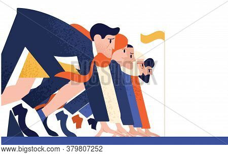 Man And Woman At Business Race Vector Flat Illustration. Office Workers Or Clerks Standing At Starti