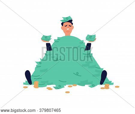 Smiling Businessman Sit With Stack Of Banknotes And Coins Vector Flat Illustration. Male Millionaire
