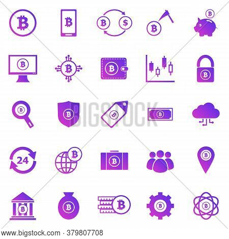Bitcoin Gradient Icons On White Background, Stock Vector