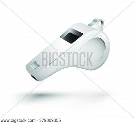 Sports Referee Metal Whistle. Conducting Tournaments And Competitions. Realistic Vector. Web Design