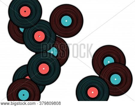 Vinyl Records Falling Vector Musical Background. Cool Music Symbols, Vintage Style Vinyl Records Vec