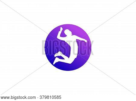Silhouette Of Volleyball Player. Modern Simple Volleyball Vector Illustration.