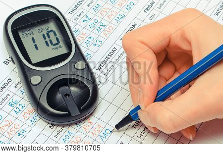 Hand Of Woman Writing Data To Medical Form And Glucometer For Checking And Measuring Sugar Level