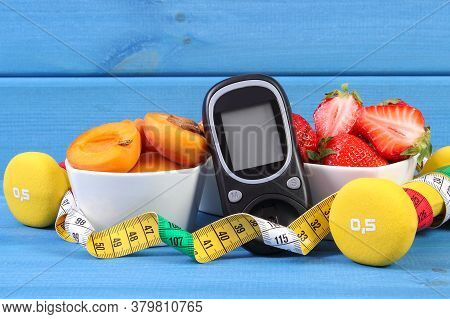 Glucose Meter For Measuring Sugar Level, Fresh Healthy Fruits, Dumbbells For Fitness And Tape Measur