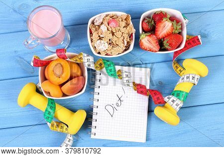 Fresh Healthy Food, Dumbbells For Fitness, Tape Measure And Notebook For Writing Notes On Boards, Co