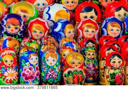 Traditional Souvenirs From Russia - Colorful Nesting Dolls, Also Known As Matryoshka, Babushka, Stac