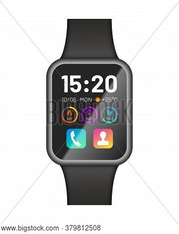 Black Smart Watch Device. Modern Communication Technology Electronic Wristwatch With App Icons And T