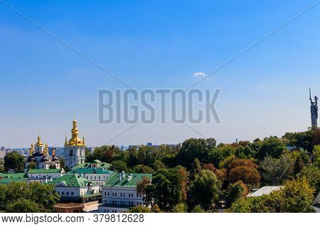 View Of Kiev Pechersk Lavra (kiev Monastery Of The Caves) And Motherland Monument In Ukraine