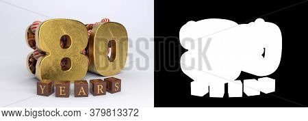 Number 80 (number Eighty) Anniversary Celebration Design With Round Candies And The Inscription Year