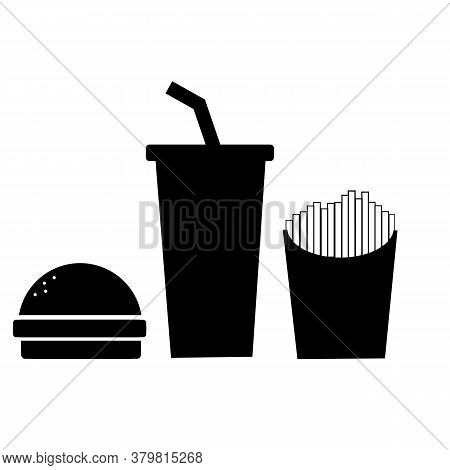 Fast Food Icon On White Background. Burger With Soft Drink Sign. Burger, France Fries And Cold Drink