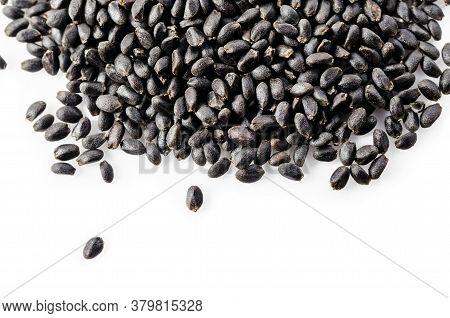 Hairy Or Basil Seeds Isolated On White Background.