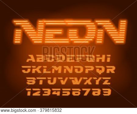 Neon Alphabet Font. Orange Neon Light Futuristic Letters And Numbers. Blurred Background. Stock Vect