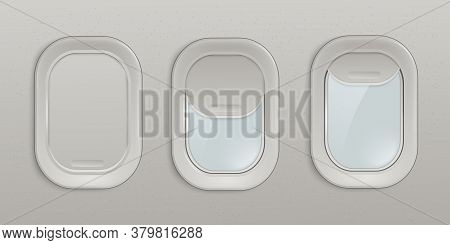 Airplane Window Or Plane Portholes Insight View 3d Realistic Vector Illustration.