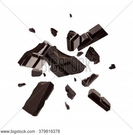 Dark Chocolate Explosion, Pieces Shattering On White Background