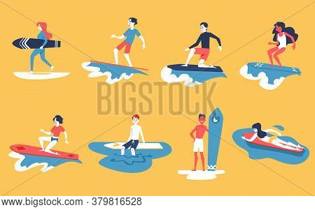 Set Of People Surfing, Men And Women With Surf Boards.